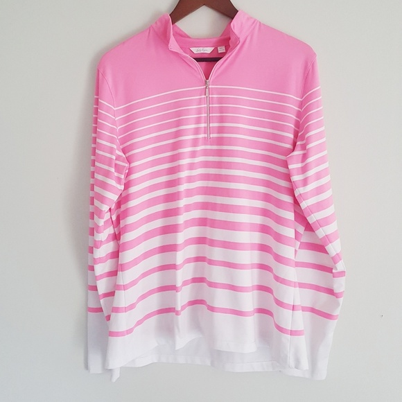 60b4686b2bdc3 Lady Hagen Tops - Lady Hagen pink white stripe 1 4 zip golf top XL
